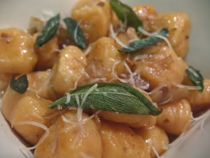 Sweet Potato Gnocchi with Fried Sage and Shaved Chestnuts