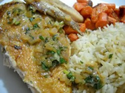 Lemon-Basil Butterflied Chicken with Baked Rice