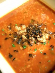 Soup Week 2010: Tomato Bulgur Soup with Crunchy Five-Spice Cauliflower