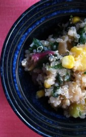 Summery Swiss Chard, Corn, Peach, and Quinoa Salad
