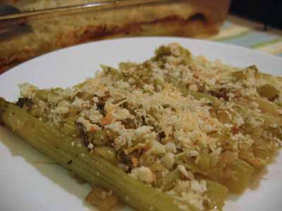 ... my new paramour was Braised Celery with Crunchy Bread Crumb Topping