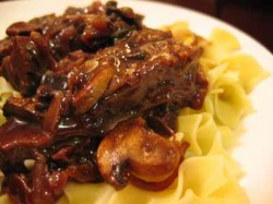 Brisket with Dried Cherries and Crimini Mushrooms