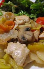 Chicken a la Cono, Debbie Style (Chicken with Potatoes, Mushrooms, &amp; Vinegar Peppers)