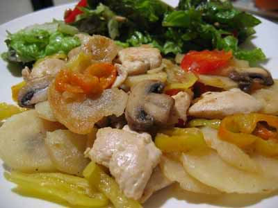 Chicken a la Cono, Debbie Style (Chicken with Potatoes, Mushrooms, & Vinegar Peppers)