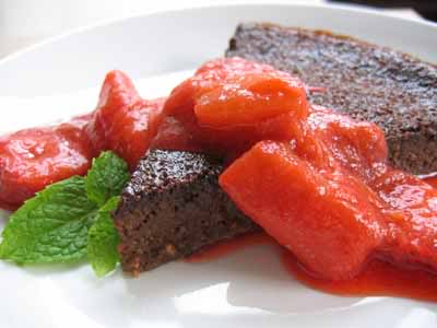 Chocolate Polenta Cake with Strawberry-Rhubarb Compote