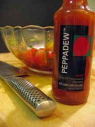 New Product Alert: Peppadew Splash-On Sauce (with recipes for Herb-Crusted Baked Chicken Breasts and Tomato-Peppadew Salsa)