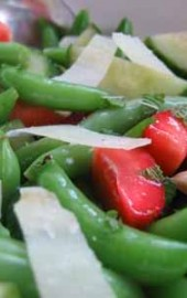 """Summer Friday"" Salad: Sugar Snap Peas, Strawberries, Cucumber, and Pecorino"