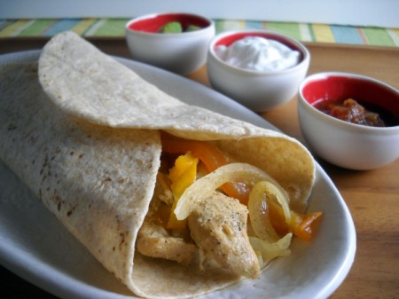 chicken fajitas made in the slow cooker