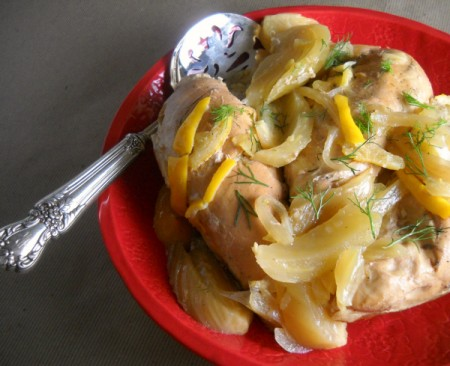 slow cooker chicken with fennel & meyer lemon