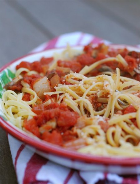 pasta with quick tomato-pancetta sauce