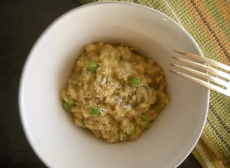 slow cooker spinach, peas & pear risotto