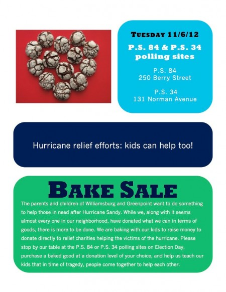 Williamsburg Bake Sale Fundraiser for Hurricane Sandy