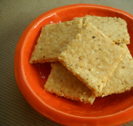 easy crackers made from almond flour, sesame seeds, and sesame oil