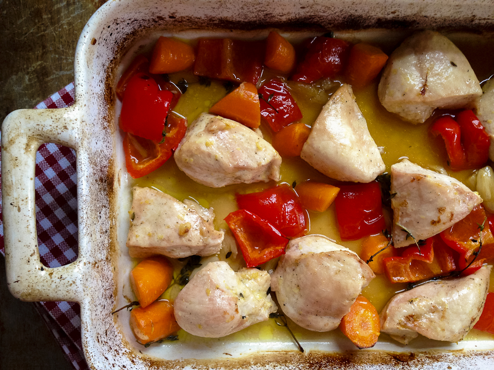 Quick & Lemony, One-Pot Roasted Chicken & Vegetables