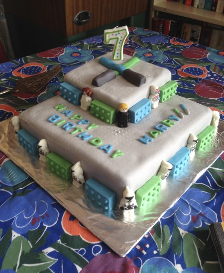 lego star wars cake covered in marshmallow fondant