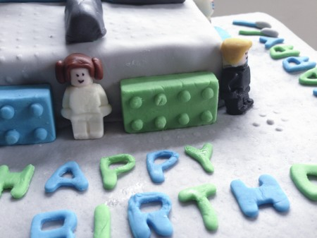 detail of lego star wars fondant cake