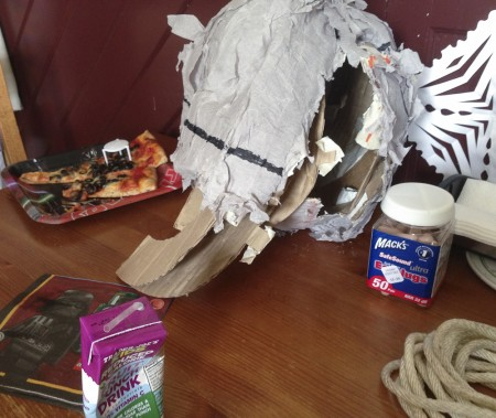 This pretty much sums up the party: Destroyed Death Star pinata, leftover olive pizza, crushed juice box, earplugs, rope