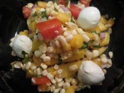 Nap-Time Cooking: Corn, Peach, Tomato over Grilled Polenta