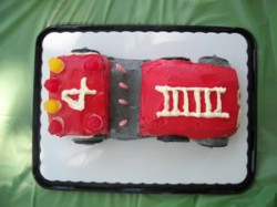 A Fire Truck Cake for a Four-Year-Old