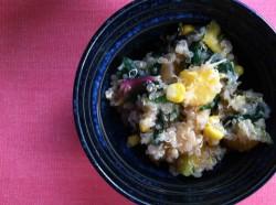 Summery Swiss Chard, Corn, Peach, and Quinoa Salad
