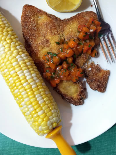 Read more about the article Cornmeal Crusted Flounder with Smoky Apricot Salsa