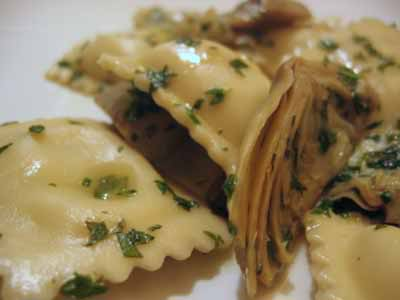 Sometimes You Just Don't Feel Like Cooking (Artichoke Ravioli with Herb Sauce)