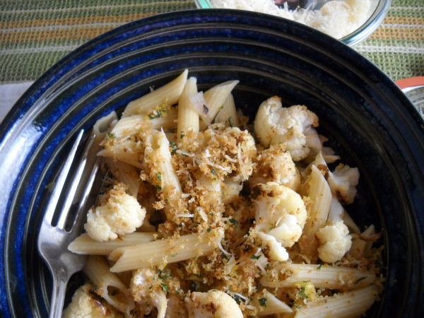 Pasta with Roasted Cauliflower & Lemon-Parmesan Breadcrumbs