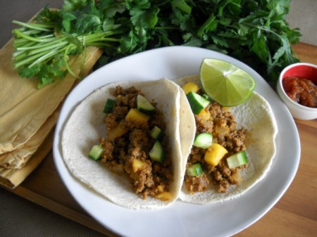 soft tacos filled with spicy chorizo and chunks of potato