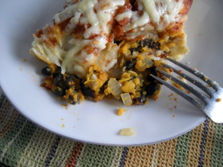 smoky black bean & sweet potato enchiladas