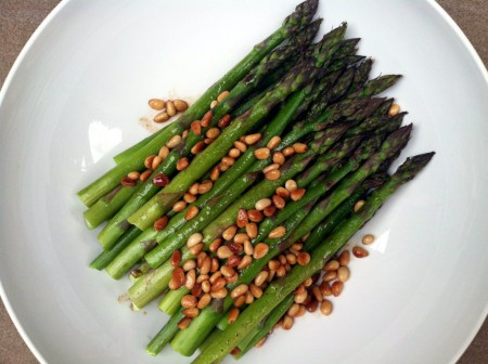 roasted asparagus with brown butter & pine nuts