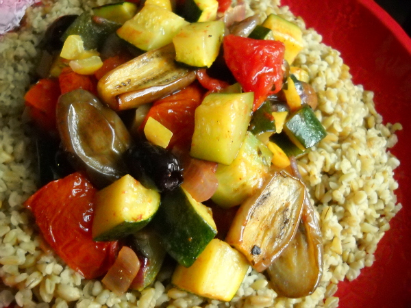 Roasted North African Ratatouille Over Freekeh
