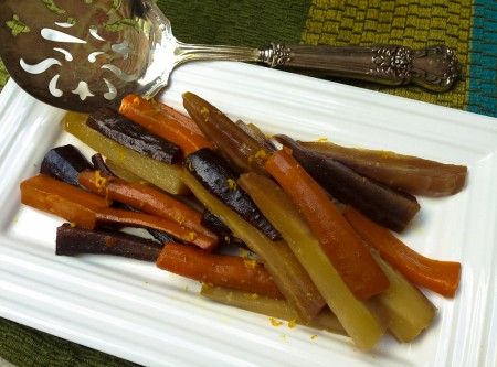 carrots tossed with olive oil, honey, ginger, and orange zest