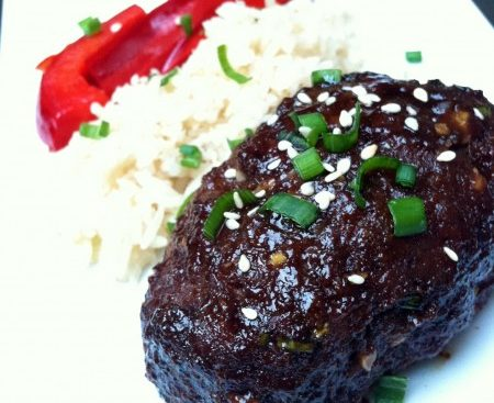 recipe for mini-meatloaf with salty-sweet Korean flavors: soy sauce, sesame oil, sugar, garlic, scallions, ginger